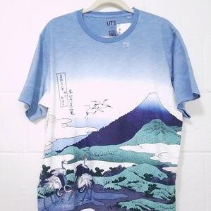 UNIQLO × Hokusai Blue Mens Graphic T-Shirt XL Art